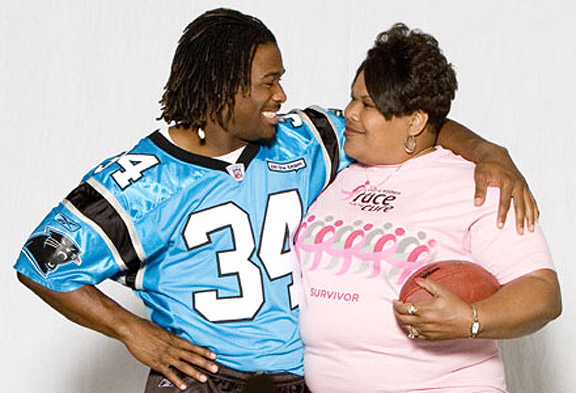 Sandra Hill, 2012 photo with DeAngelo Williams, Komen Charlotte
