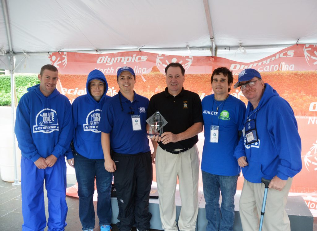 Ron Hines at Special Olympics NC Over the Edge (black shirt)